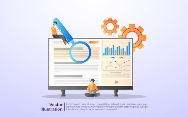 Seo最適化のコンセプト。 seoマーケティング会社、seo結果の最適化、seo ranking.bileアプリ