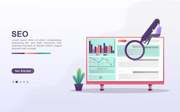 Концепция seo оптимизации. seo маркетинговая компания, seo оптимизация результатов, seo ранжирование. можно использовать для веб-целевой страницы, баннера, флаера, мобильного приложения.