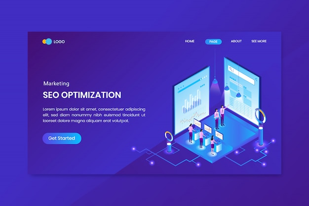 Seo service isometric concept landing page