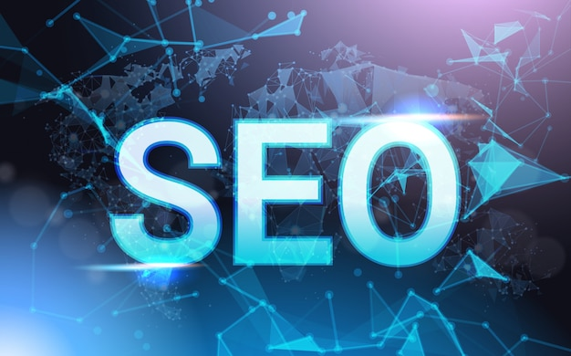 Seo sign over futuristic low poly mesh wireframe. content optimization concept