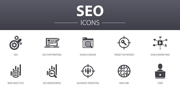 Seo 간단한 개념 아이콘을 설정합니다. 검색 엔진, 대상 키워드, 웹 분석, seo 모니터링 등과 같은 아이콘이 포함되어 있으며 웹, 로고, ui/ux에 사용할 수 있습니다.