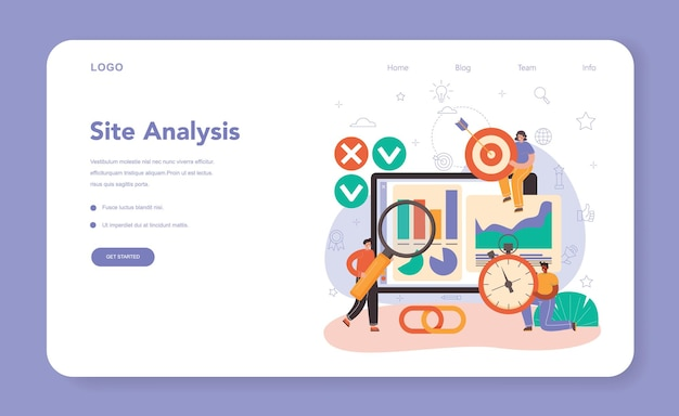 Seo specialist web banner or landing page. idea of search engine optimization for website as marketing strategy. web page promotion in the internet, site audit. vector flat illustration