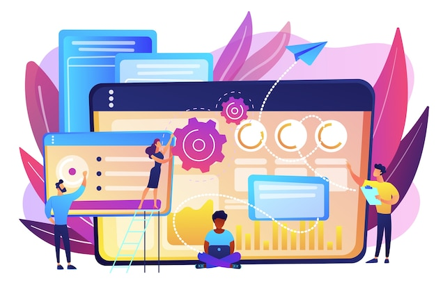 Seo specialists work on high-quality organic search traffic for websites. seo analytics team, seo optimization, internet promotion concept. bright vibrant violet  isolated illustration