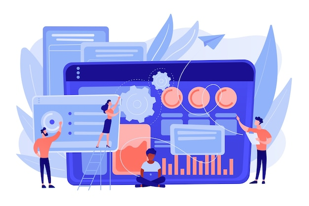 Gli specialisti seo lavorano su traffico di ricerca organico di alta qualità per i siti web. team di analisi seo, ottimizzazione seo, concetto di promozione di internet. pinkish coral bluevector illustrazione isolata