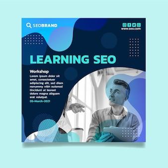 Seo square flyer design template