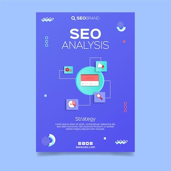 Seo strategy flyer template illustrated