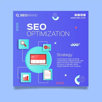 Seo strategy square flyer template