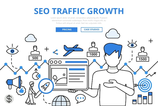 Seo traffic growth concept flat line style.
