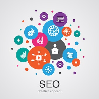 간단한 아이콘으로 seo 트렌디한 ui 거품 디자인 개념. 검색 엔진, 대상 키워드, 웹 분석, seo 모니터링 등과 같은 요소를 포함합니다.