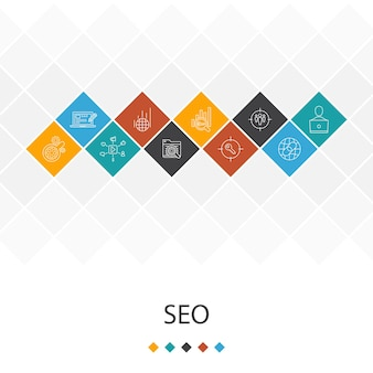Seoトレンディなuiテンプレートのインフォグラフィックの概念。検索エンジン、ターゲットキーワード、web分析、seo監視アイコン