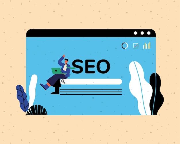 Seo-сайт и мультяшный человек с дизайном ноутбука, электронная коммерция в цифровом маркетинге и иллюстрация онлайн-темы