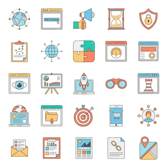Seo website flat icons pack