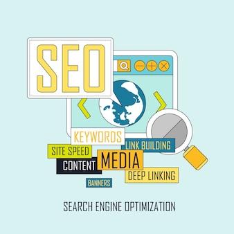 가는 선 스타일의 seo 웹 사이트 검색 엔진 최적화 프로세스