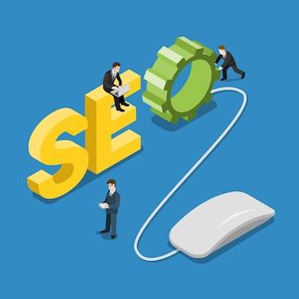 Seo слово мышь и контент-менеджер люди на нем плоская изометрическая концепция