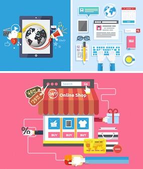 オンラインショップのソーシャルメディアとseoの最適化の概念