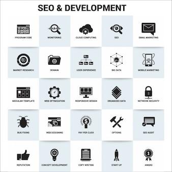 Seo и значок разработка набора