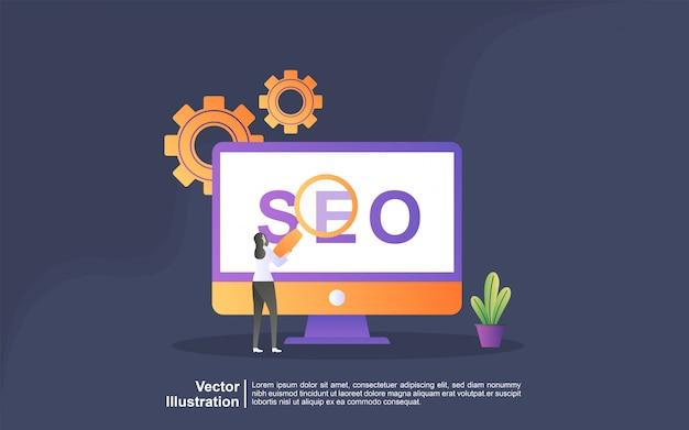Концепция иллюстрации стратегии seo. цифровой маркетинг, цифровые технологии, маркетинг в социальных сетях, концепция интернет-маркетинга. можно использовать для, целевую страницу, шаблон, пользовательский интерфейс, веб, мобильное приложение, баннер