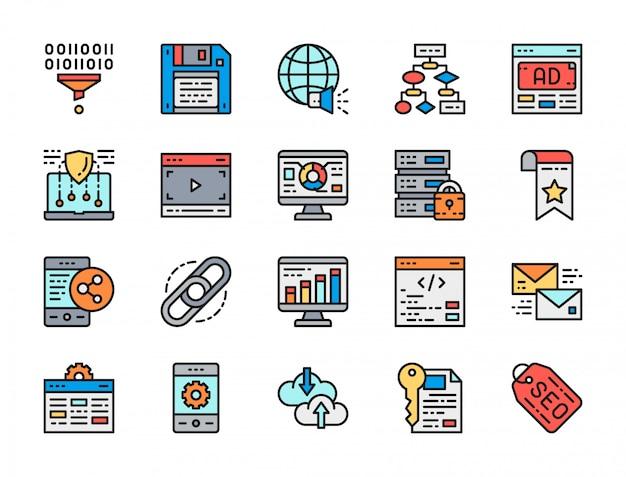 Набор маркетинговых иконок плоский цвет линии. seo, хостинг, реклама и многое другое.