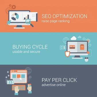 Плоский стиль seo оптимизация сайта покупки цикла оплаты за клик инфографики концепции. компьютер с веб-страниц посещений аналитика онлайн оплата рекламный блок интерфейс значок баннеры шаблоны набора.
