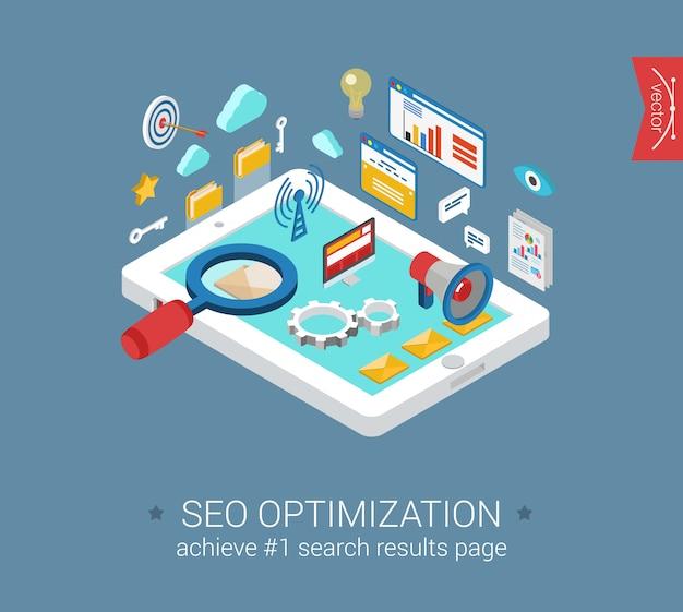 Seo最適化の概念と分析レポートクラウドコンピューティングモバイルメール検索エンジン拡大鏡インターフェイスウィンドウタブレット等尺性イラスト