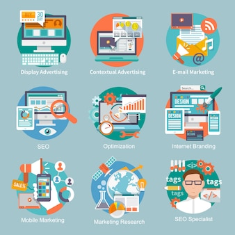 Seoインターネットマーケティングフラットアイコン