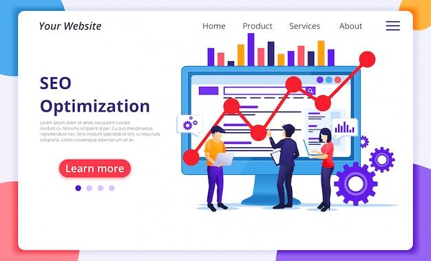 画面上の人々と働くseo分析の概念。検索エンジン最適化、マーケティング、戦略。ウェブサイトのランディングページテンプレート