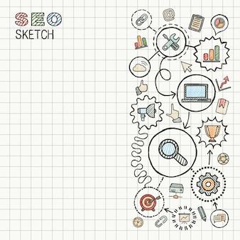 Seoの手は、紙に設定された統合アイコンを描画します。カラフルなスケッチインフォグラフィックイラスト。接続された落書き絵文字、マーケティング、ネットワーク、分析、技術、最適化、インタラクティブなコンセプト
