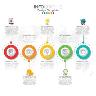 Инфографическая иллюстрация понятия инфографики seo с деловым шаблоном макета.