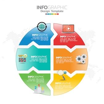 ビジネスレイアウトテンプレートとseoインフォグラフィックのインフォグラフィックコンセプトイラスト。