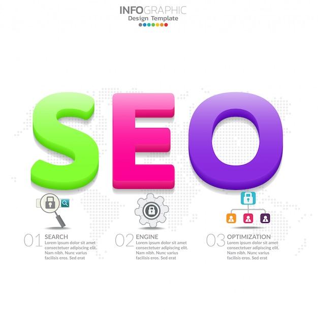 単語seoとインフォグラフィックダイアグラム。マーケティングの概念