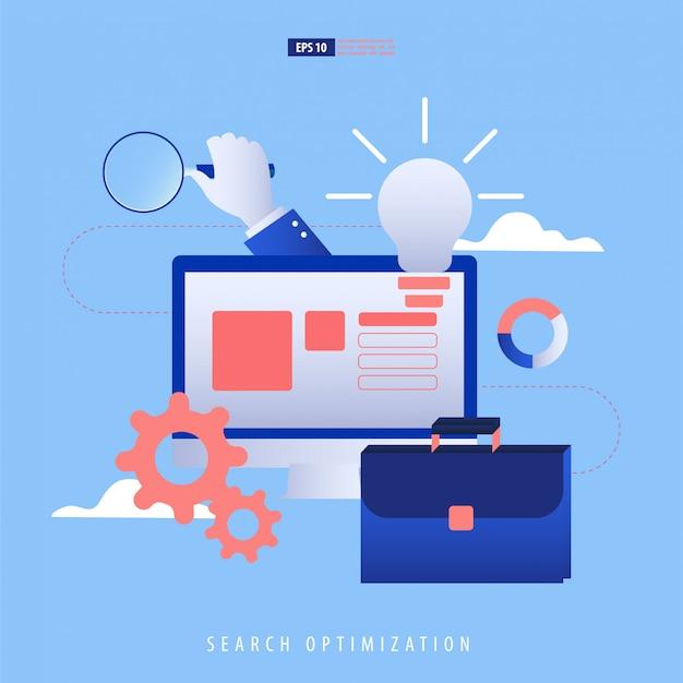 Управление данными и seo концепция. ноутбук, сайт, данные, сумка, увеличить.