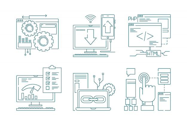 Иконки веб-разработки линии. seo мобильная верстка веб-дизайн креативный процесс код сайта и приложение для смартфонов картинки
