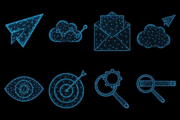 Seo многоугольный набор иконок