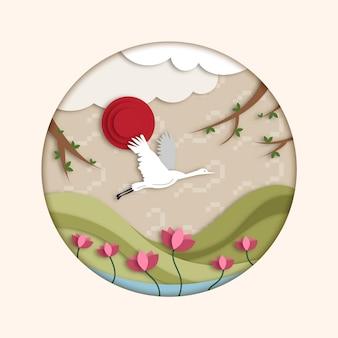 황새와 꽃 종이 스타일의 설날 그림