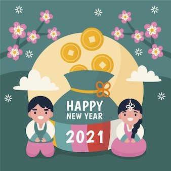 Seollal illustration with couple and coins