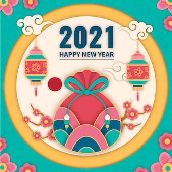 Seollal korean new year in paper style