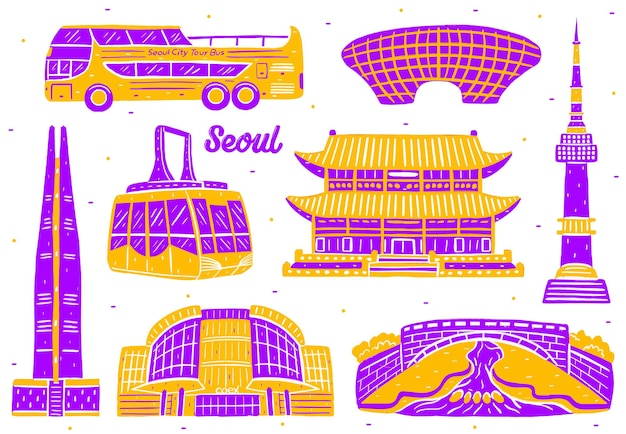 フラットなデザインスタイルのソウル市のランドマーク