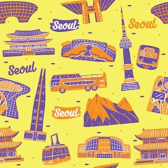 ランドマーク要素とソウル市のシームレスなパターン
