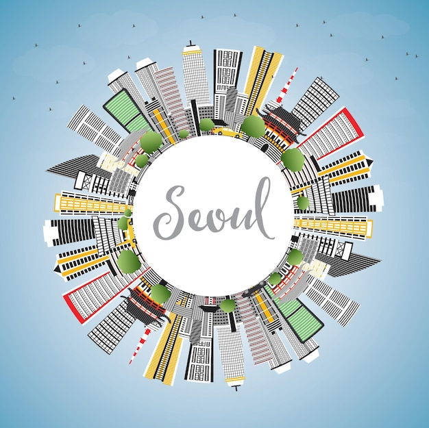Seoul korea skyline with color buildings, blue sky and copy space. vector illustration. business travel and tourism concept with modern architecture. seoul cityscape with landmarks.