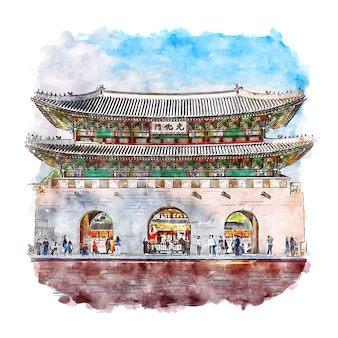 서울 한국 수채화 스케치 손으로 그린