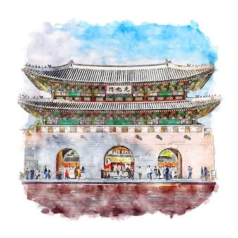 Seoul korea watercolor sketch hand drawn
