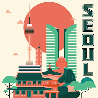 Seoul landmarks illustration