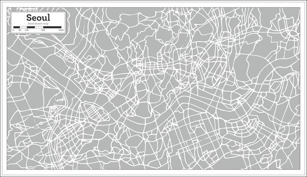 レトロなスタイルのソウル地図。手で書いた。ベクトルイラスト。