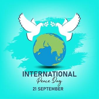 21 сентября, день международного мира. иллюстрация концепции настоящего мира во всем мире.