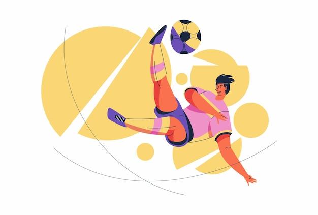 Человек-спортсмен sepak takraw в действии на велосипеде над сеткой, мультипликационный персонаж