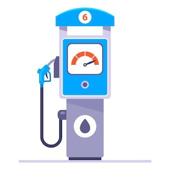 白い背景の上の別のガソリンスタンド。車にガソリンを補給します。フラットの図。