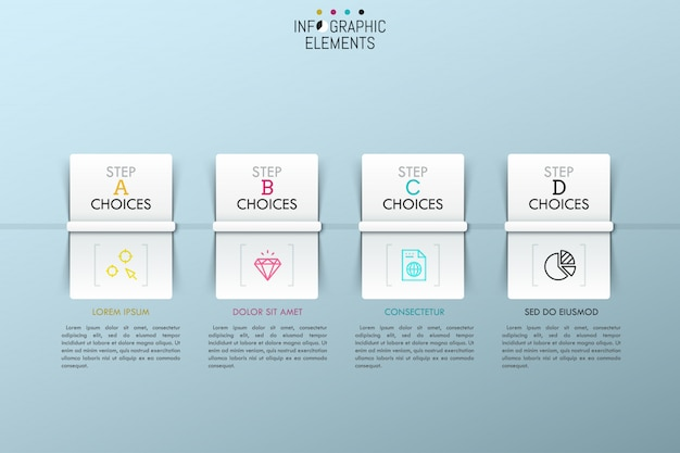 Separate rectangular paper white elements with colorful icons inside, headings and text boxes.