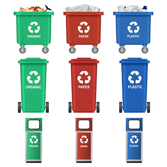 Separation recycle bin icons set