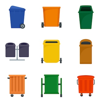 Separation recycle bin trash icons set