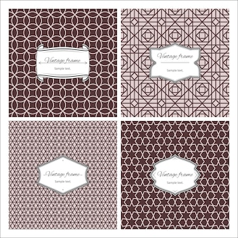 Sepia color seamless patterns with frames